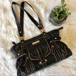 Melie Bianco Black & Gold Shoulder Handbag Purse